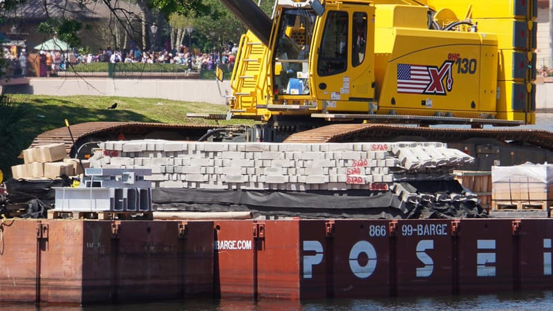 Illuminations replacement Epcot Forever construction update March 2019 mats going in World Showcase Lagoon