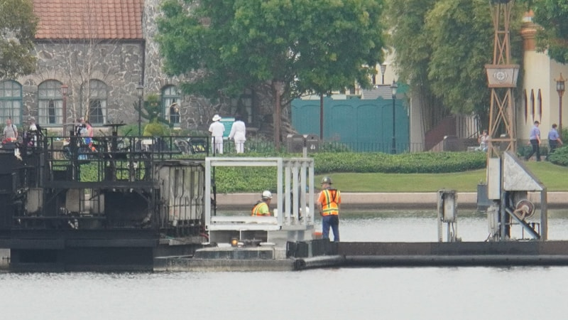 Illuminations replacement Epcot Forever construction update March 2019 workers in World Showcase Lagoon