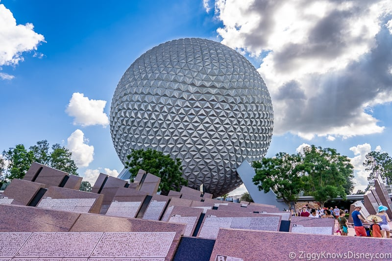 Epcot Entrance, Spaceship Earth and Leave a Legacy
