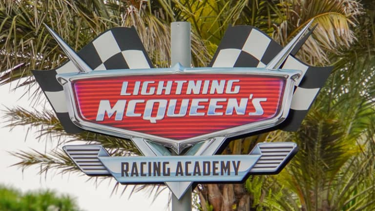 Lightning McQueen's Racing Academy Construction Update March 2019 close up sign