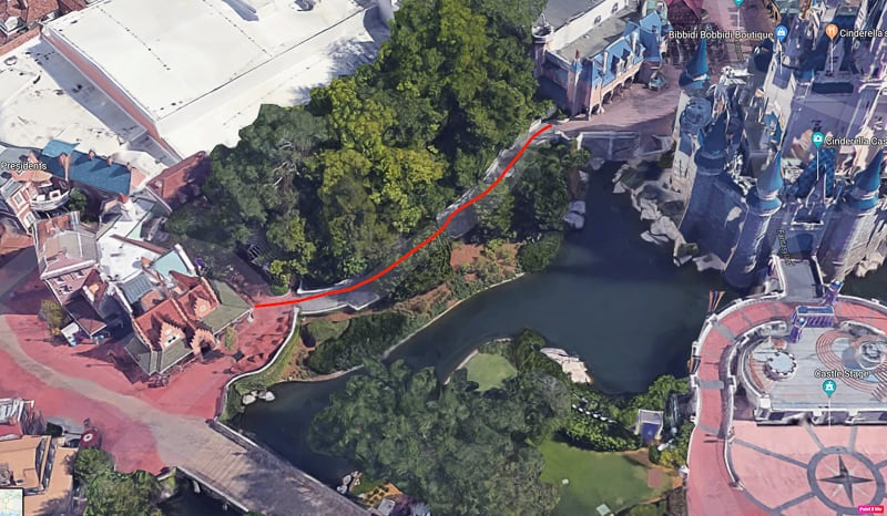 pathway widened behind Cinderella Castle magic kingdom