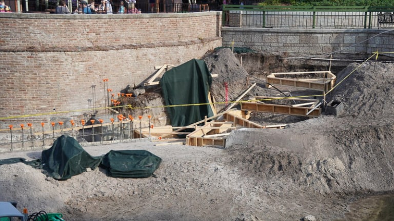 foundations in place for Cinderella Castle Pathway widening Magic Kingdom