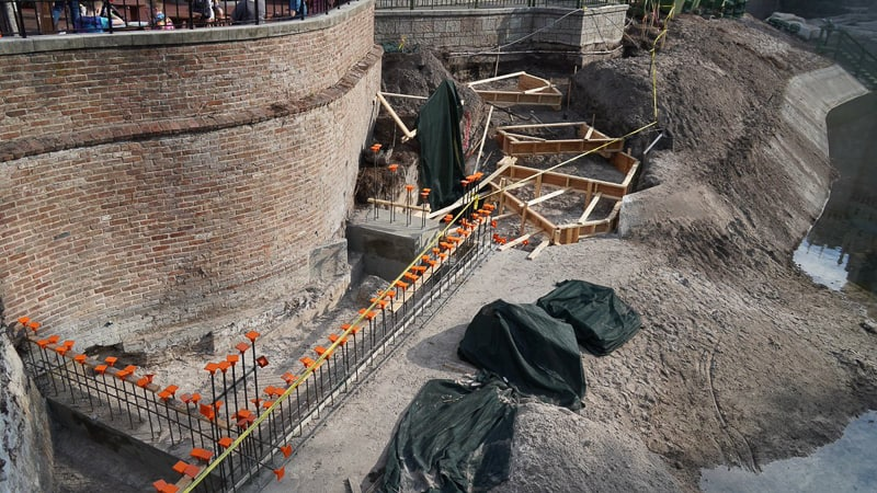 close look at foundations for Cinderella Castle Pathway widening Magic Kingdom