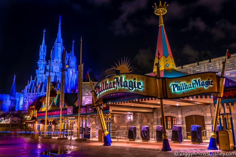 Mickey's PhilharMagic in the Magic Kingdom at night
