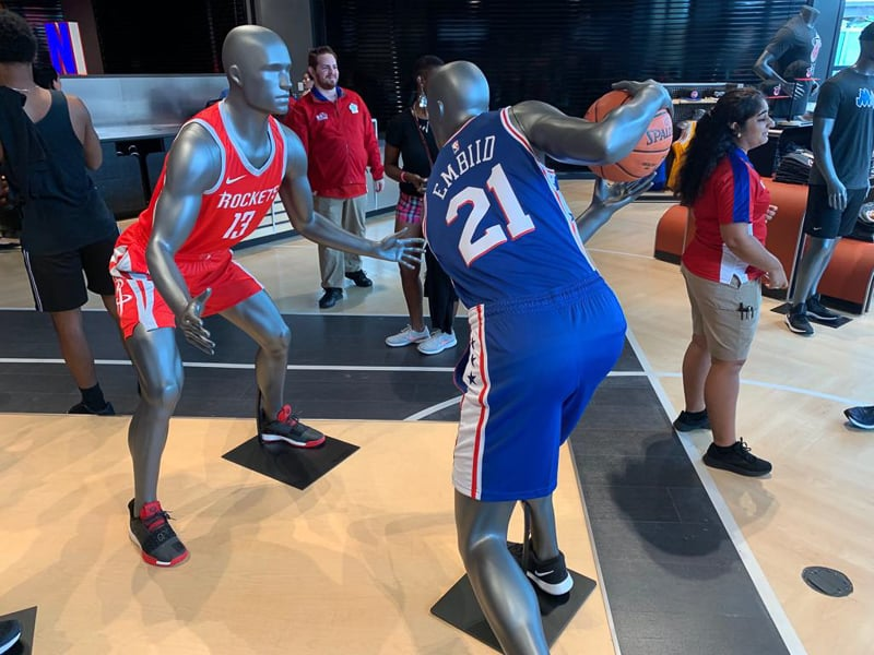 NBA Experience Store mannequins playing
