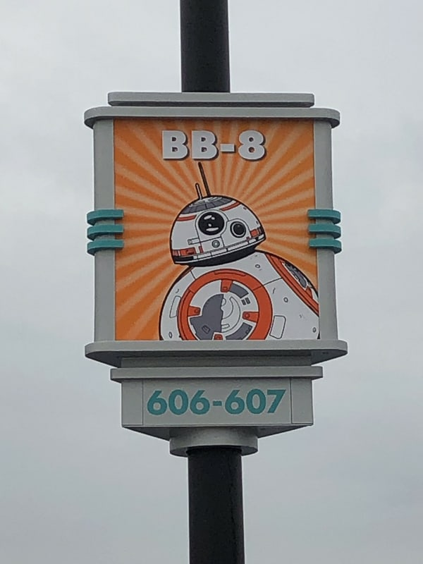 New Hollywood Studios Character Signs in Parking Lot BB8
