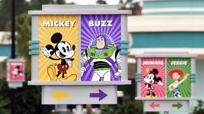 New Hollywood Studios Character Signs in Parking Lot Mickey Mouse and Buzz Lightyear
