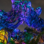 Pandora the World of Avatar at night with the floating mountains