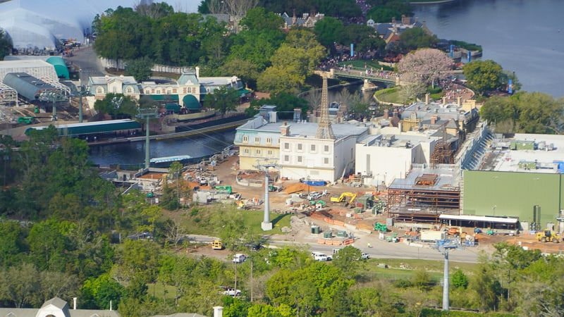 Remy's Ratatouille Adventure construction aerial shot
