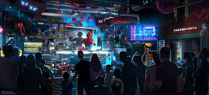 Spider-Man Ride Disney California Adventure concept art spider bots