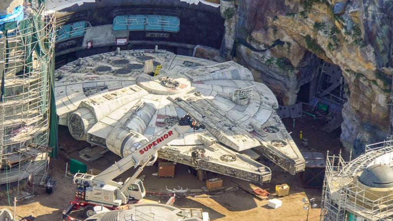 Star Wars Galaxy's Edge construction update March 2019 Millennium Falcon Finished