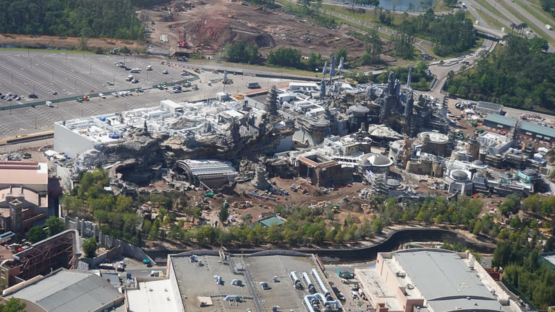Star Wars Galaxy's Edge Construction Update March overall aerial