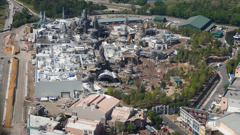 Star Wars Galaxy's Edge Construction Update March aerial from Grand Avenue side
