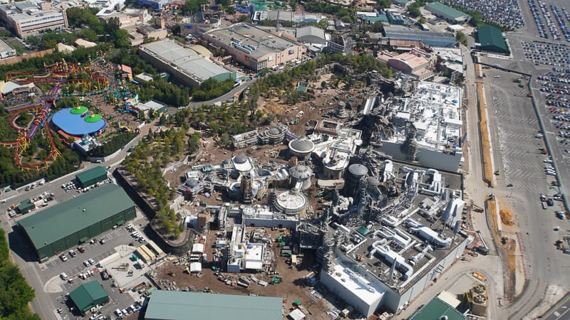 Star Wars Galaxy's Edge Construction Update March aerial