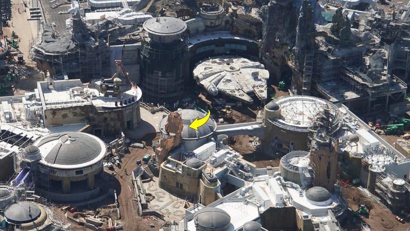 Star Wars Galaxy's Edge Construction Update March scrim aerial shot