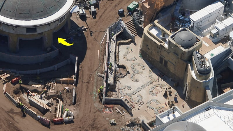 Star Wars Galaxy's Edge Construction Update March work on Side of building