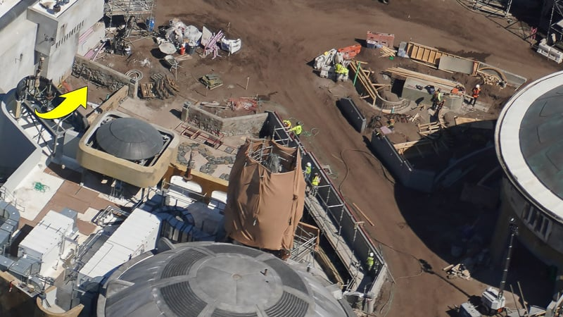 Star Wars Galaxy's Edge Construction Update March workers making aged wall