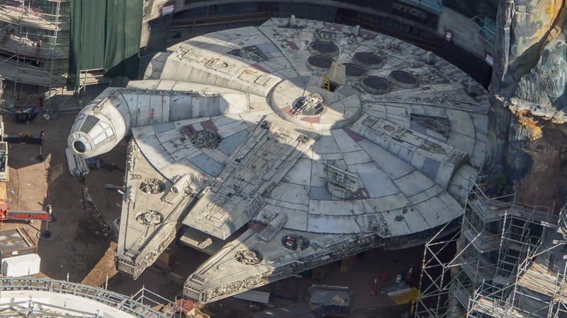 Star Wars Galaxy's Edge Construction Update March millennium flacon close up
