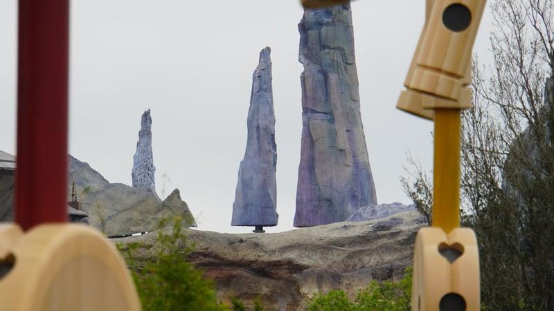 Star Wars Galaxy's Edge Construction Update March rock spires missing bottom