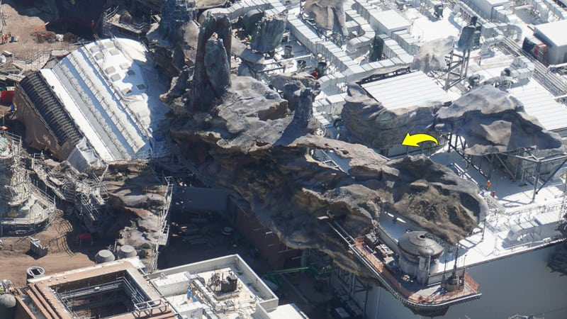 Star Wars Galaxy's Edge Construction Update March rock work on top of rise of the resistance