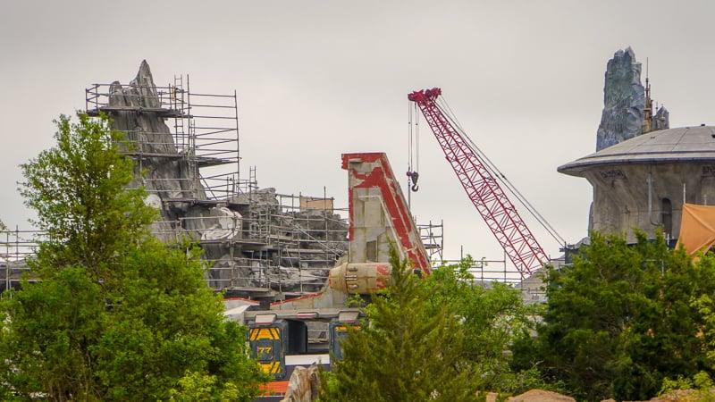 Star Wars Galaxy's Edge Construction Update March spaceship from ground