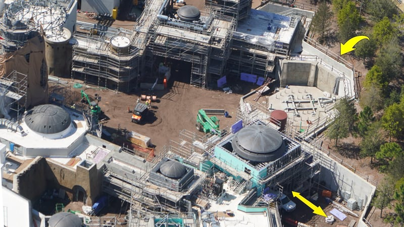 Star Wars Galaxy's Edge Construction Update March a spaceship is going here