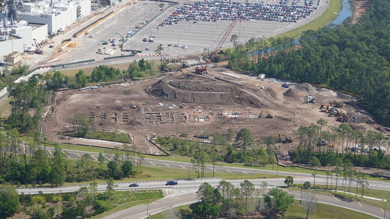 Star Wars Hotel construction update March 2019 installation of building foundation