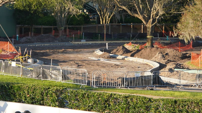 Tomorrowland speedway Construction Update March 2019 concrete curbs in