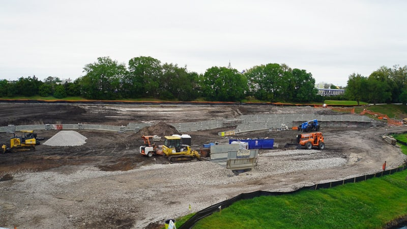 Tron Roller Coaster Construction Update March 2019 retention pond walls