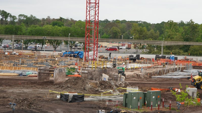 Tron Roller Coaster Construction Update March 2019 foundation