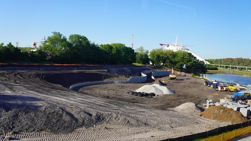TRON Roller Coaster Construction Update March 2019 wide view of berm wall