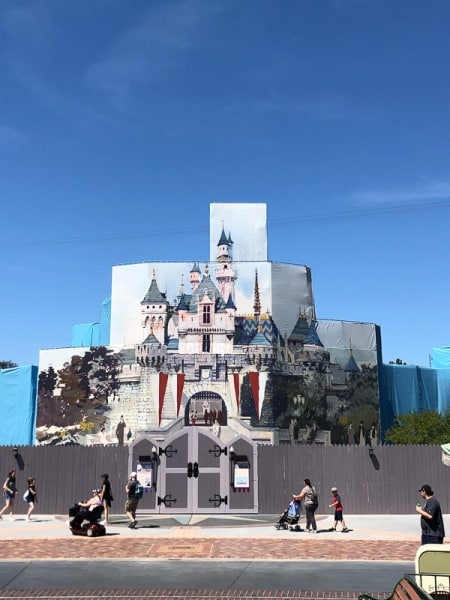 Disneyland Castle Refurb April outside the walls