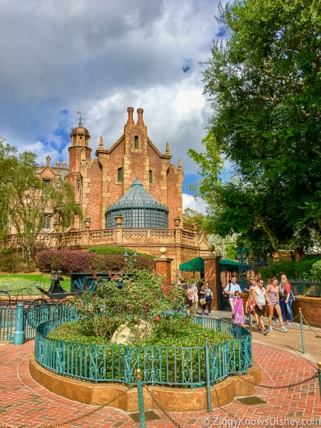 Outside and entrance of the Haunted Mansion in Disney's Magic Kingdom