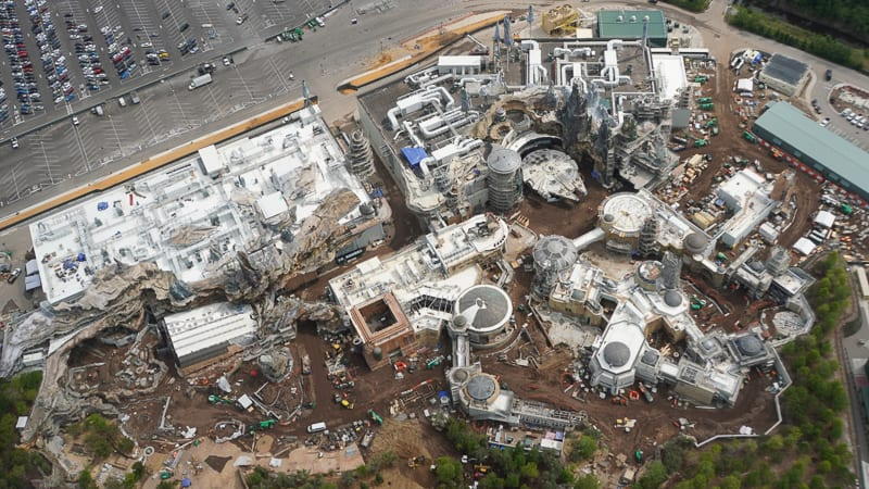 Star Wars Galaxy's Edge Construction Update April 2019 overview of the whole land