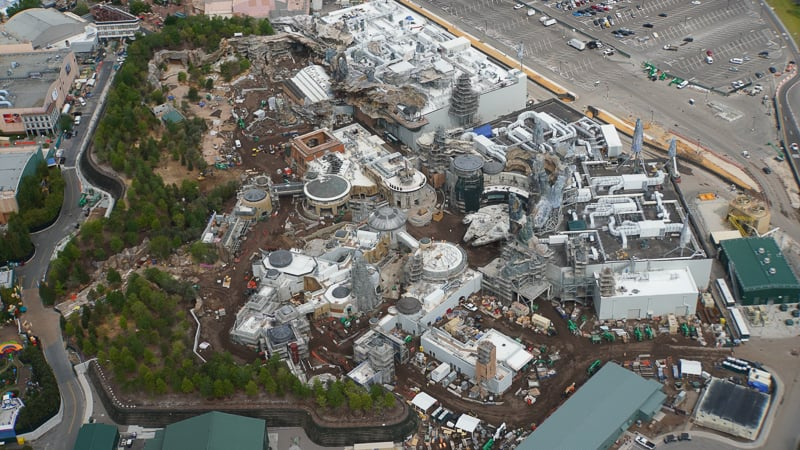 Star Wars Galaxy's Edge Construction Update April 2019 aerial shot