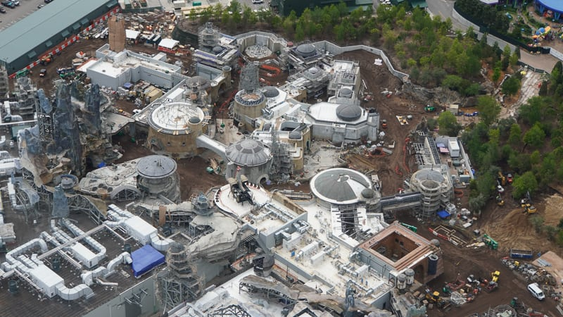 Star Wars Galaxy's Edge Construction Update April 2019 aerial Black Spire Outpost