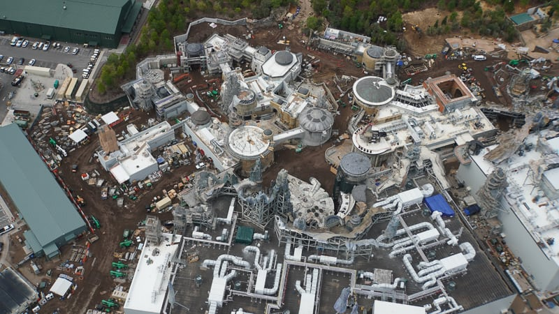 Star Wars Galaxy's Edge Construction Update April 2019 behind Millennium Falcon