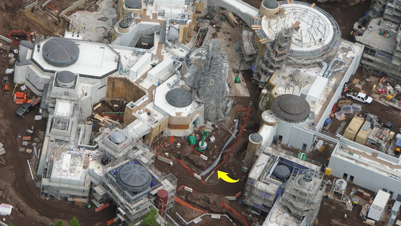 Star Wars Galaxy's Edge Construction Update April 2019 electric conduit in floor