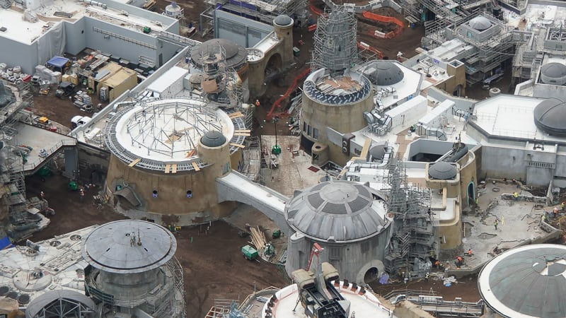 Star Wars Galaxy's Edge Construction Update April 2019 paving the streets