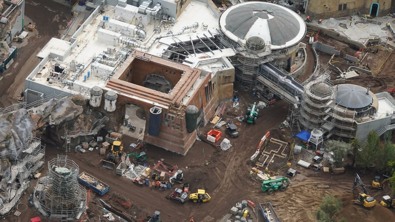 Star Wars Galaxy's Edge Construction Update April 2019 looking down on Docking Bay 7