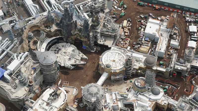 Star Wars Galaxy's Edge Construction Update April 2019 high above the Millennium Falcon