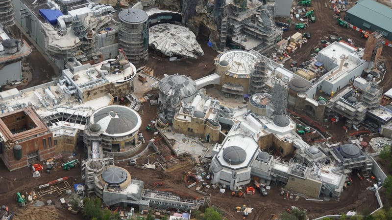 Star Wars Galaxy's Edge Construction Update April 2019 overview near Millennium Falcon