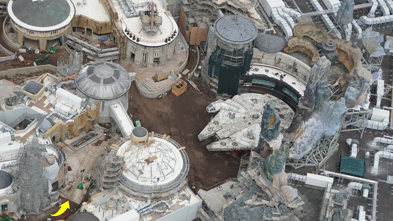 Star Wars Galaxy's Edge Construction Update April 2019 Outside the Millennium Falcon