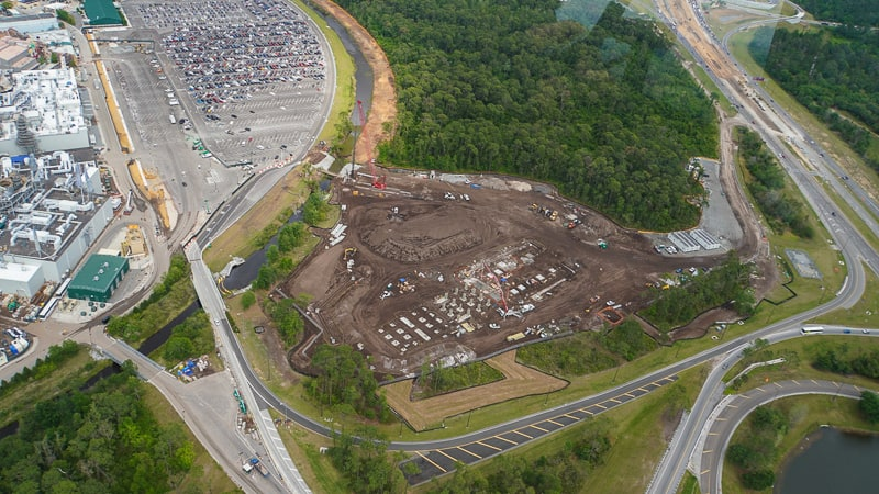 Star Wars Hotel Aerial View of the foundation update April 2019