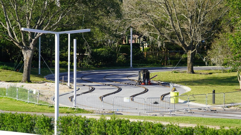progress on the Tomorrowland Speedway