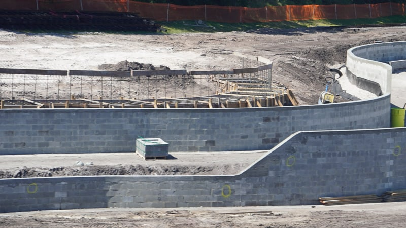 work on Tomorrowland berm in Magic Kingdom