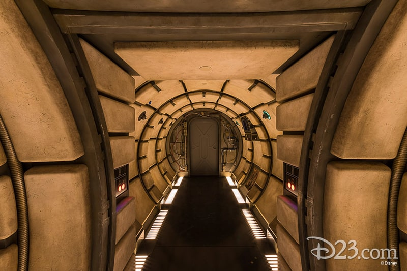 Inside the Millennium Falcon D23 Star Wars Galaxy's Edge Photos Theming Details