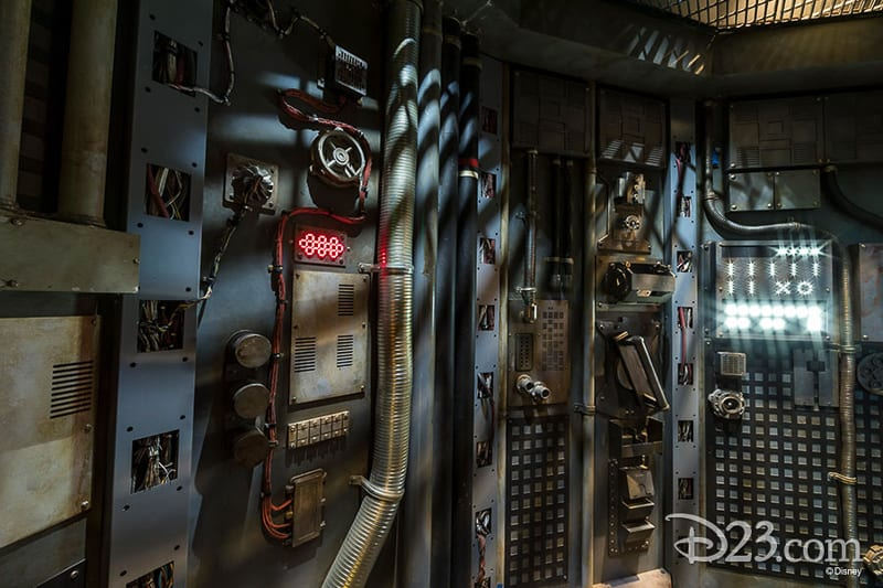 D23 Star Wars Galaxy's Edge Photos Theming Details Millennium Falcon inside