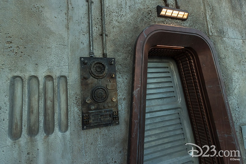 D23 Star Wars Galaxy's Edge Photos Theming Details Door