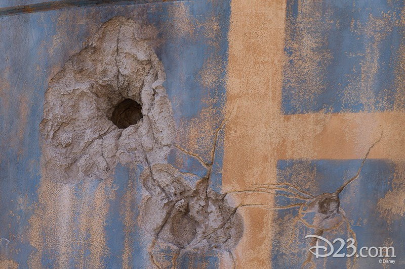 D23 Star Wars Galaxy's Edge Photos Theming blaster holes in wall
